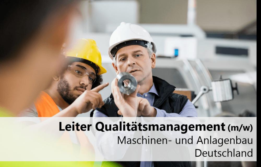 Leiter Qualitätsmanagement